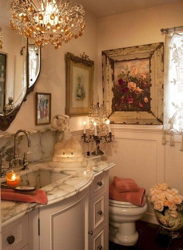 50 Interesting Shabby Chic Bathroom Decor Ideas Chic Bathroom