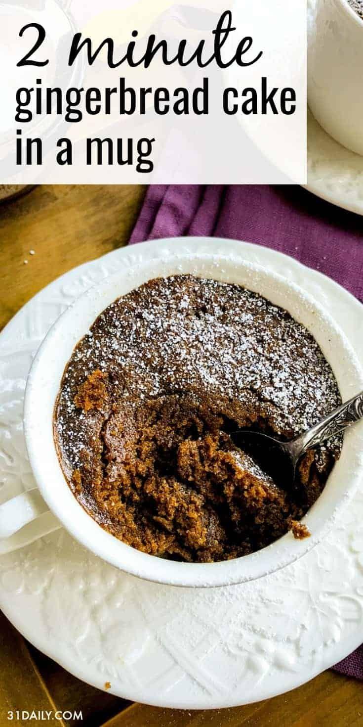 2 Minute Gingerbread Cake in a Mug - 31 Daily
