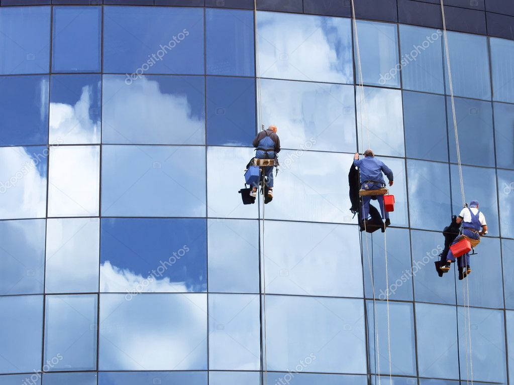 Workers Washing A Skyscraper Windows Stock Photo Aff