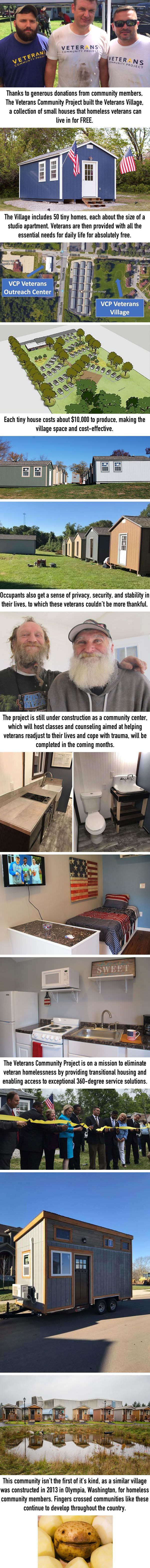 City Builds Tiny Village For Homeless Veterans With 50 Tiny Houses So They Could Live There For Free Tiny House Village Tiny House Nation Tiny House