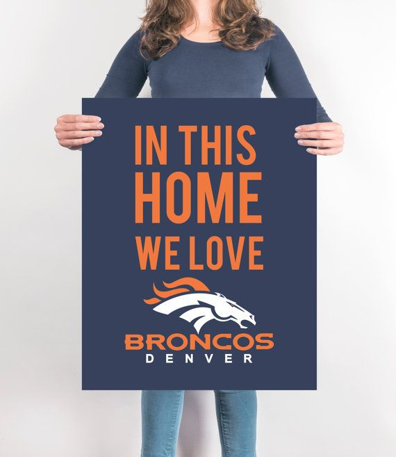 Broncos Decor Print Home Wall Art By Sportprintables