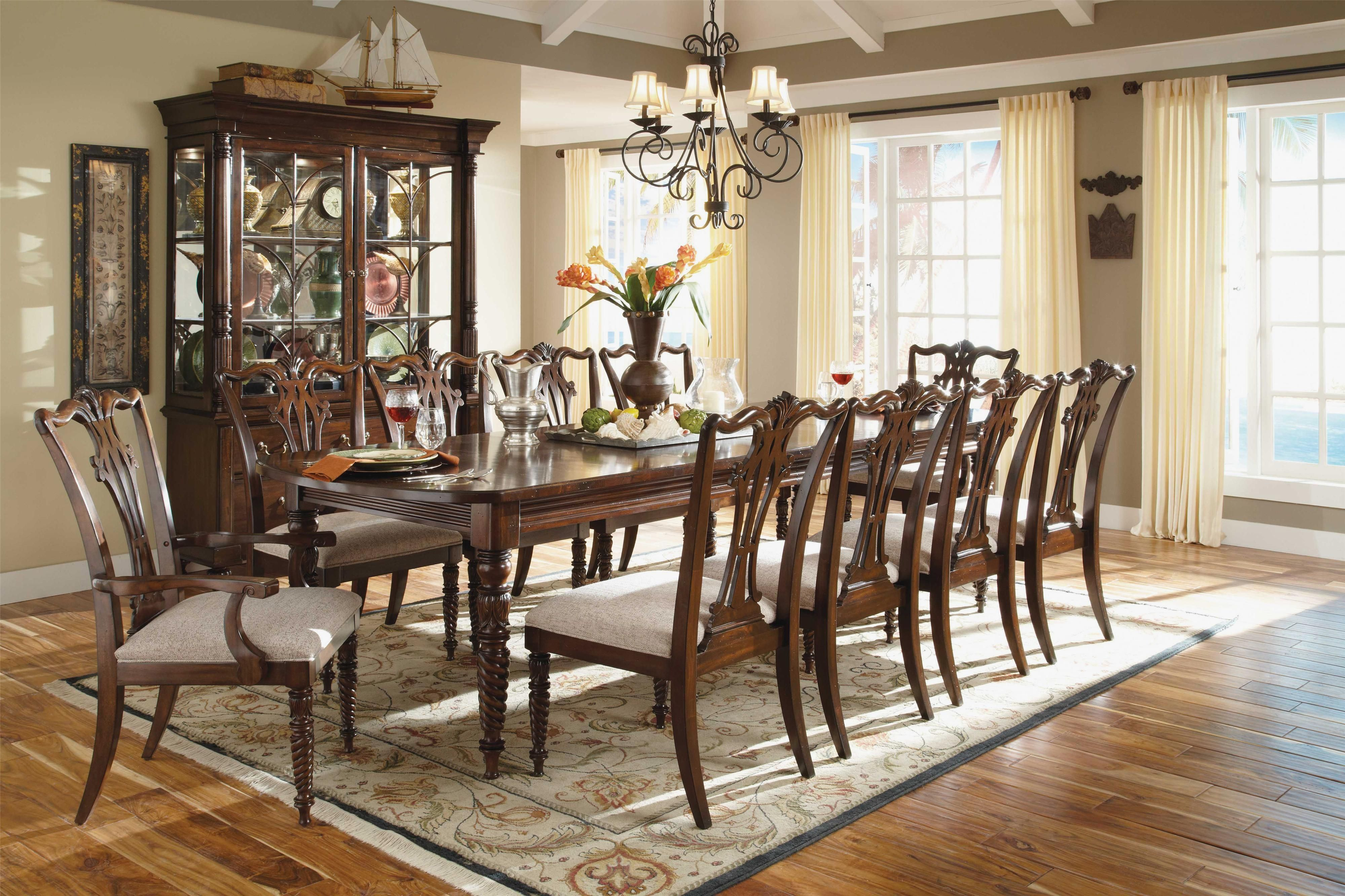 Dining Room French Country Sets Wood Table For 10 Formal Curtains