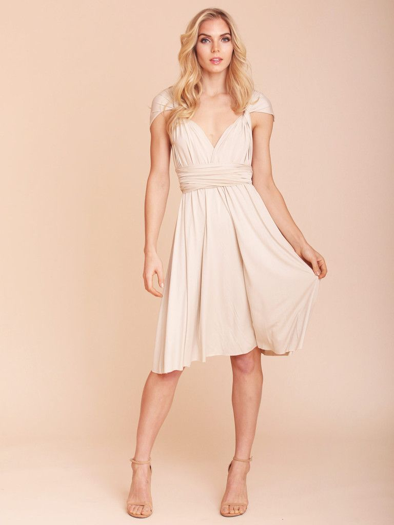 Amabelle Champagne Convertible Dress Knee & Maxi Length | Bridesmaid ...