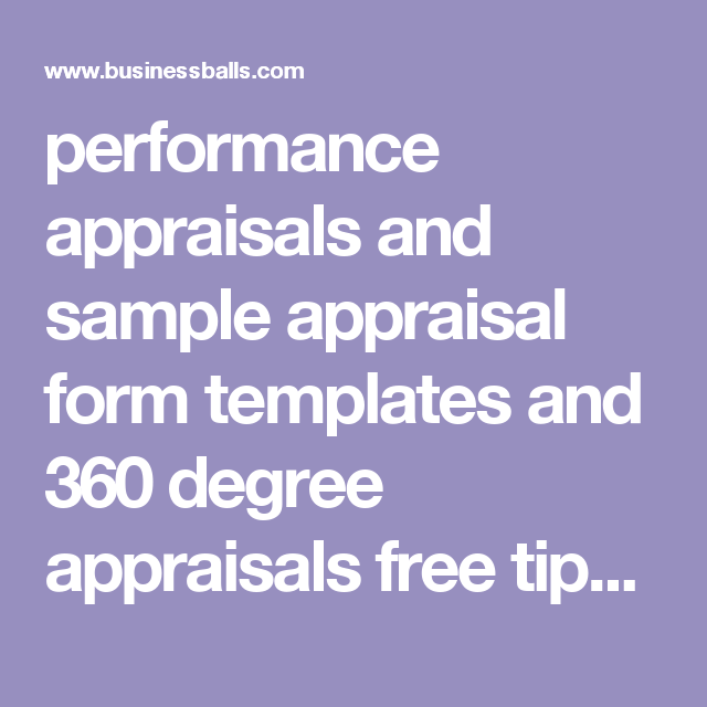 Performance Appraisals And Sample Appraisal Form Templates And