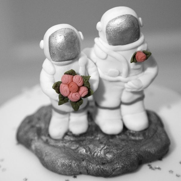 Astronaut wedding cake, photographed at Sheffield wedding