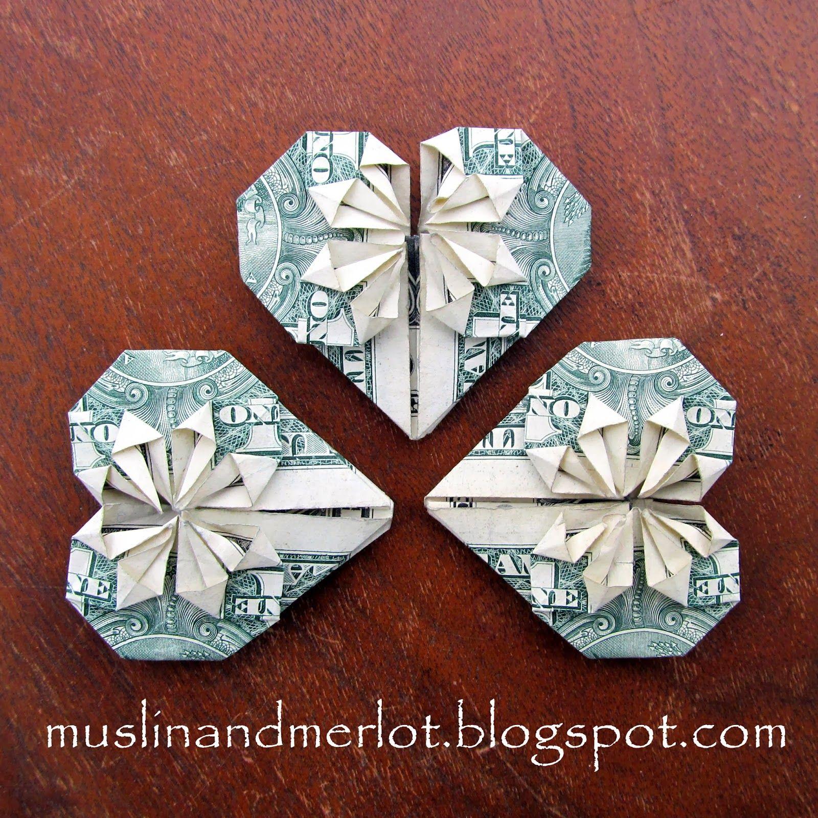 Dollar hearts origami craft and crafty muslin and merlot dollar hearts jeuxipadfo Images