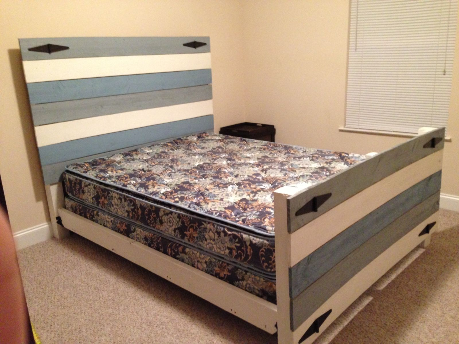 Diy headboard and footboard my husband and i made it out
