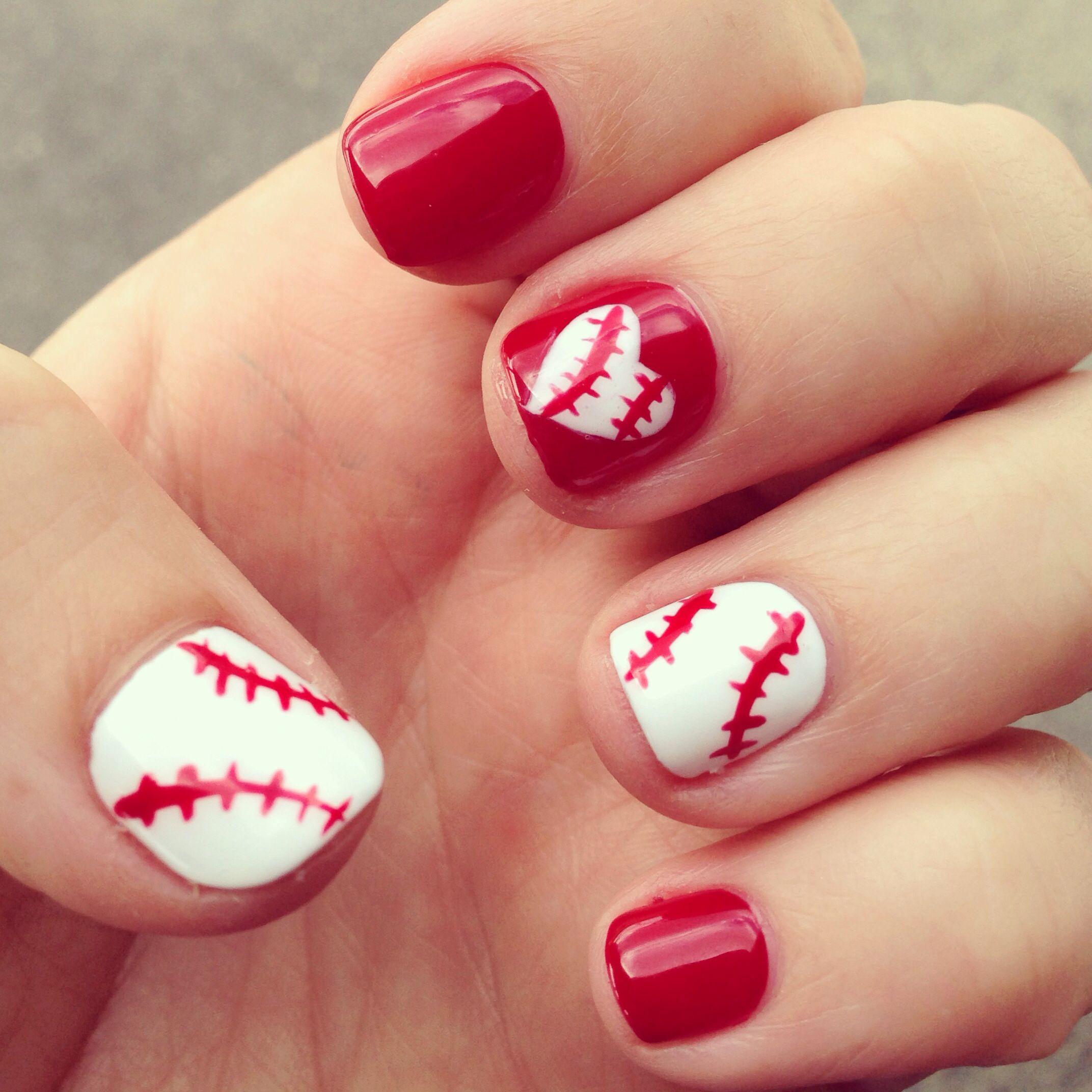 red baseball nails nail's