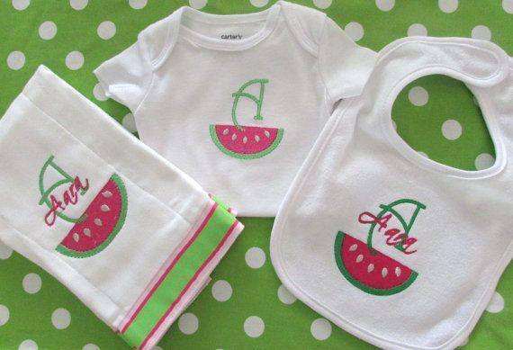 Personalized Summer Watermelon bib burp cloth by TinyCuties4Cuties, $45.00