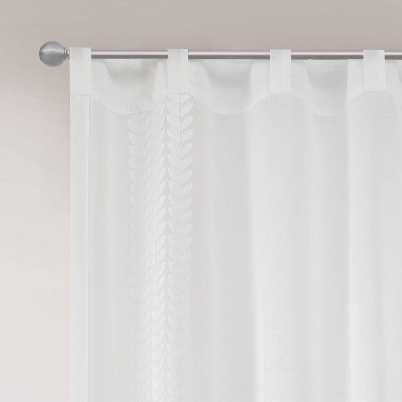 Chessington Border Embroidered Window Solid Sheer Rod Pocket Single Curtain Panel Panel Curtains Curtains Window Curtains