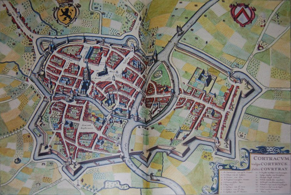 Plattegrond Kortrijk in 1641