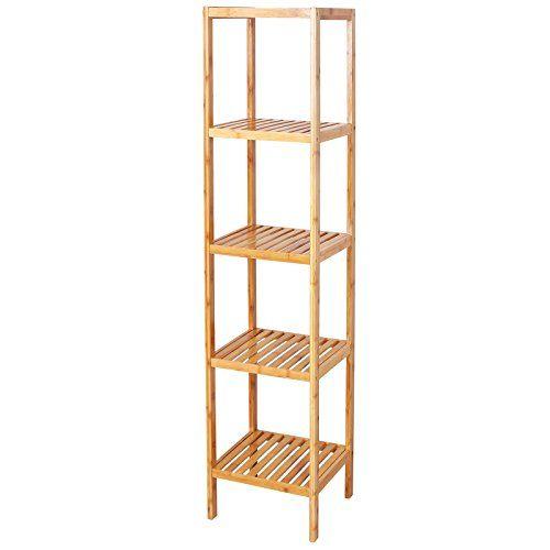 songmics 100 bamboo bathroom shelf 5tier storage rack shelving unit ubcb55y songmics