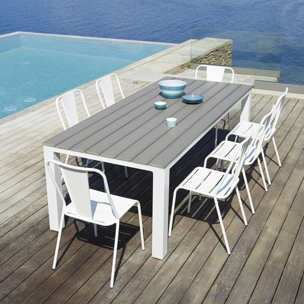 Garden table 8/10 persons in aluminium and composite W230 ...