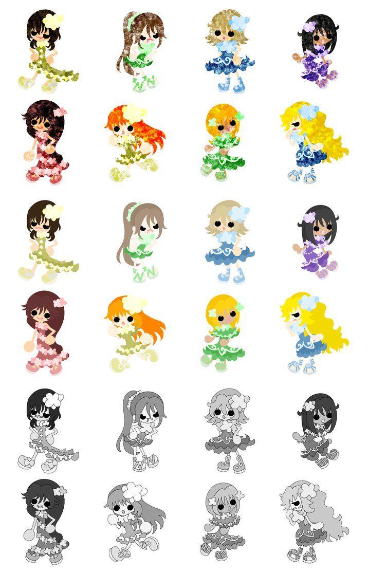 フリーのイラスト素材「可愛いドレスの少女達のアイコン / the icons