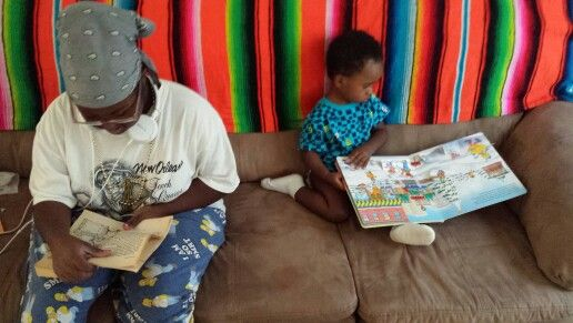 Love watching the fam read...young and older.