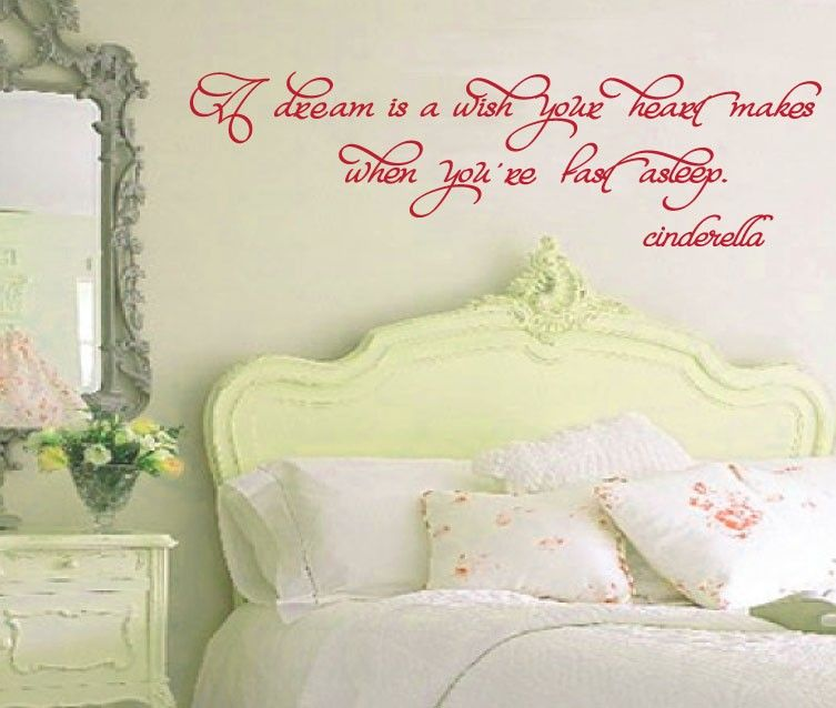 Vinyl Wall Decal Cinderella Quote - A Dream is a Wish - Children\'s ...