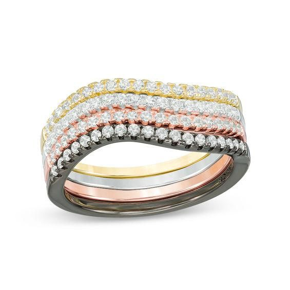 Zales Lab-Created White Sapphire Four Piece Stackable Ring Set in Sterling Silver, Black Rhodium and 14K Two-Tone Gold Plate