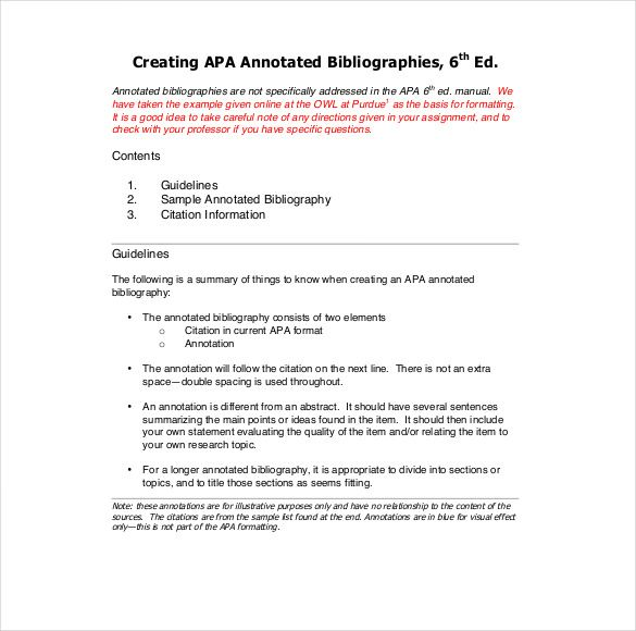 Annotated bibliography examples are abridged, and a brief discourse ...