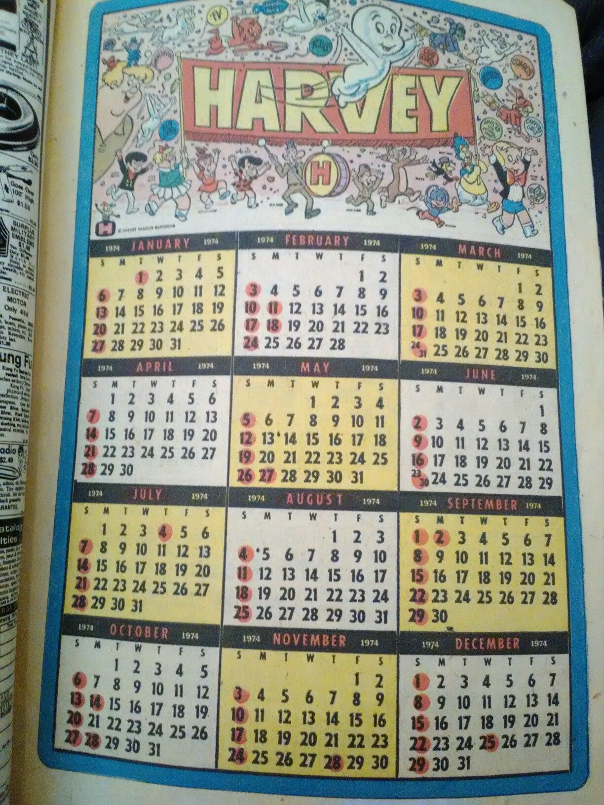 A 1974 Calendar From A Richie Rich Comic A Great Year Richie