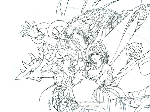 Lineart Attack Valefor By Tomuyu On Deviantart Art Coloring Pages Final Fantasy X