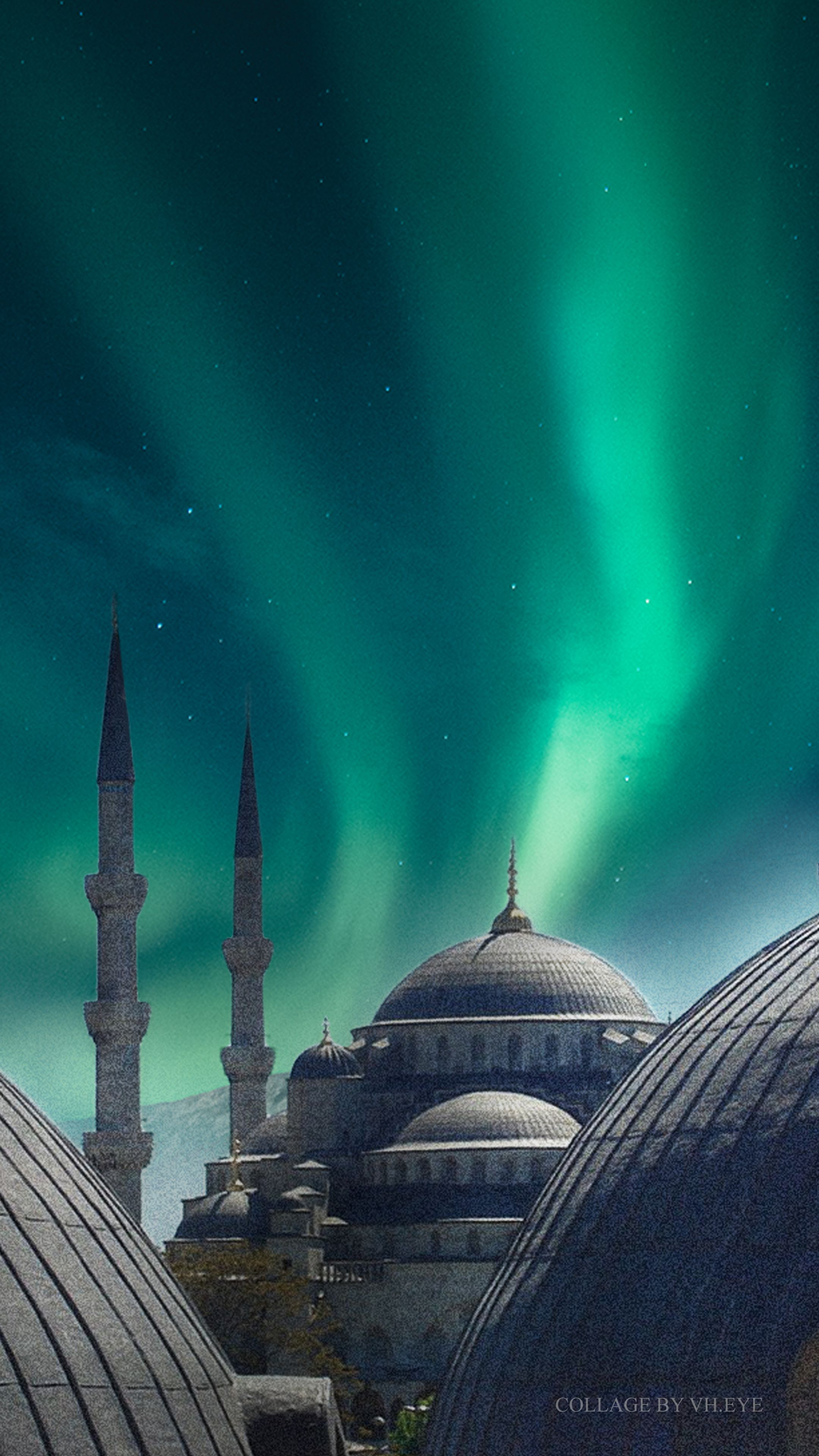 Turkey Blue Mosque Wallpaper Iphone Android Collage Art By Vh Eye Northern Lights Aurora Borealis Mosque Digital Collage Art Islamic Architecture