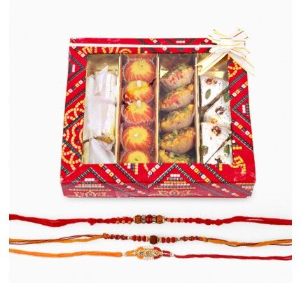 Three Rakhi with Assorted Sweets