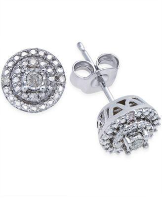 Macy S Diamond Stud Earrings 1 10 Ct T W In Sterling Silver Reviews Earrings Jewelry Watches Macy S Diamond Earrings Studs Morganite Earrings Studs Diamond Studs