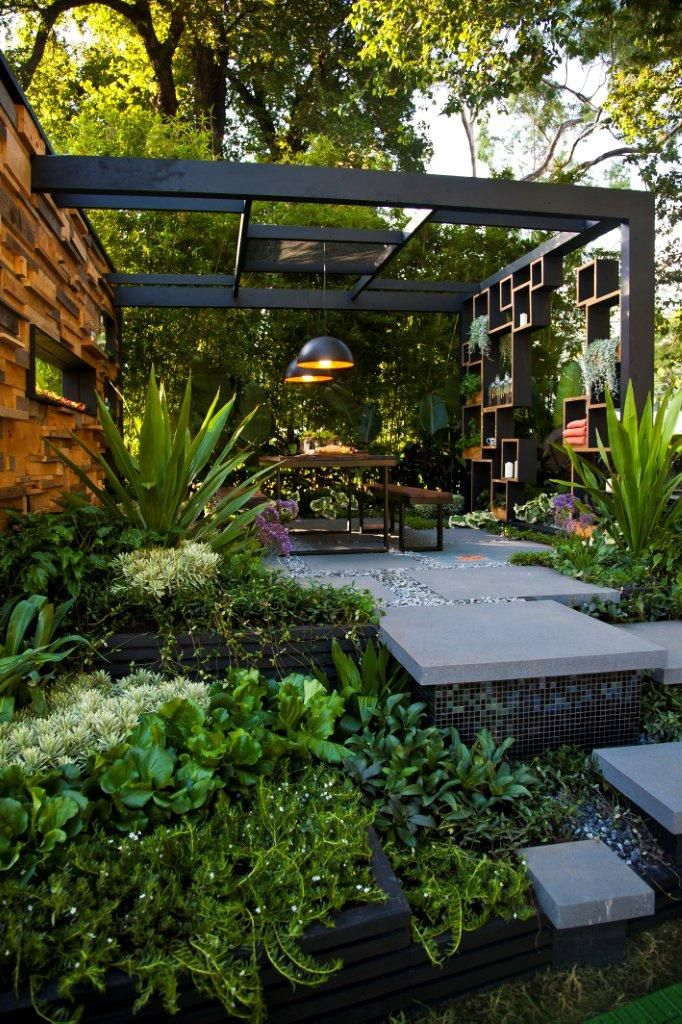 Industrial patio with iron and wood.