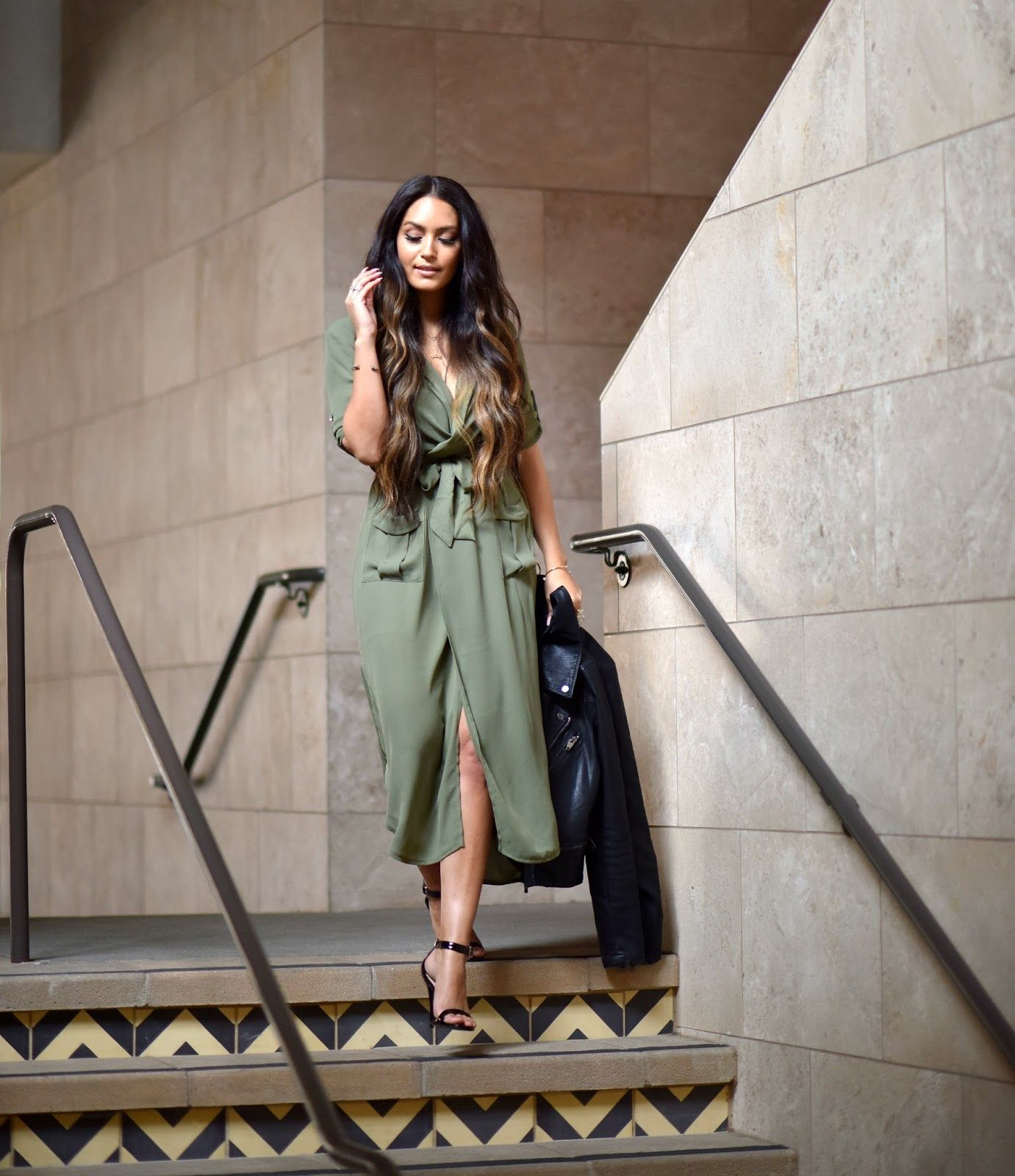 45517d0c09b1 Vanessa Balli  Olive Green Dress