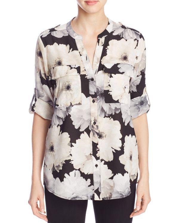 Calvin Klein Floral Print Roll Sleeve Shirt
