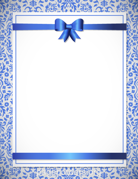 Printable blue wedding border. Use the border in Microsoft ...