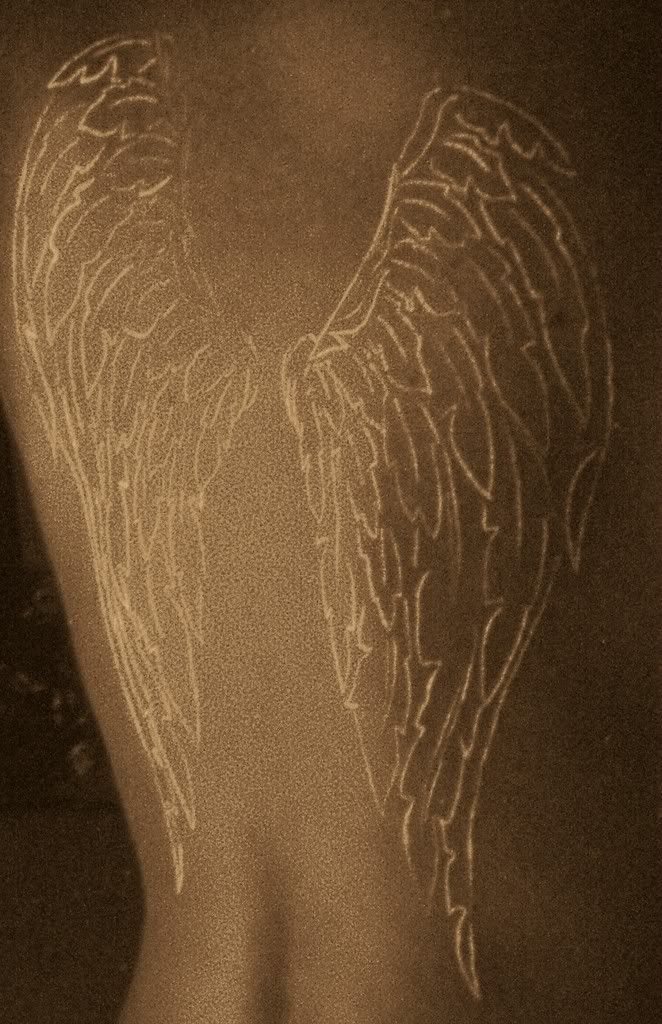 Love The Wings In White Ink Wings Tattoo Angel Wings Tattoo