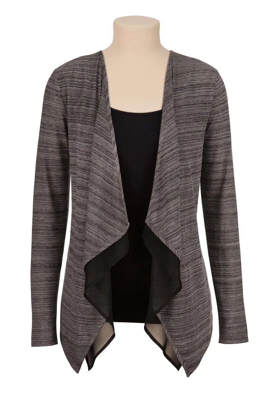 Lightweight open front cardiwrap with chiffon trim - maurices.com