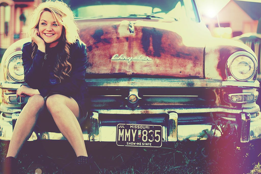 Vintage Hipster Retro Old Car Pose Senior Picture Girl Photo Idea