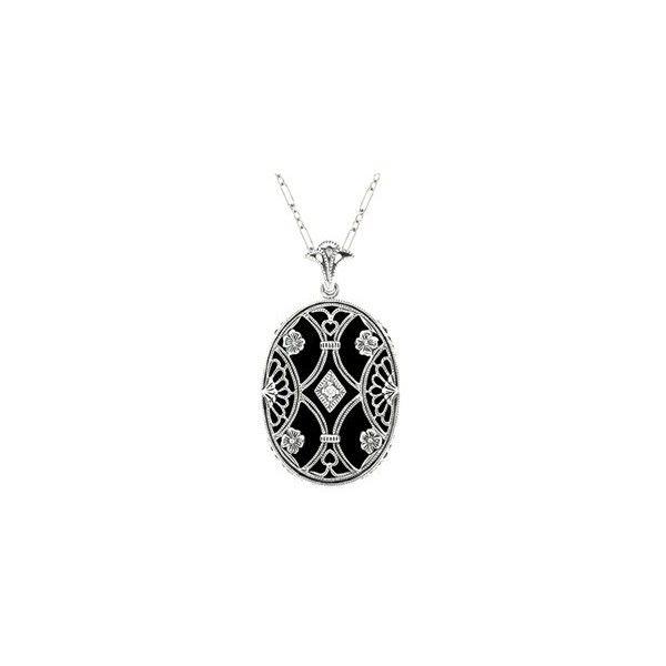 Art Deco Filigree Flowers and Scrolls Black Onyx and Diamond Vintage... ❤ liked on Polyvore