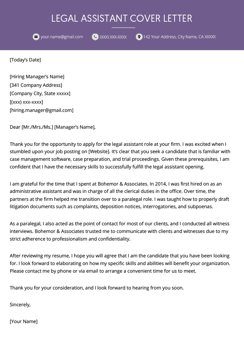 Legal Assistant Cover Letter Example Resume Genius Cover