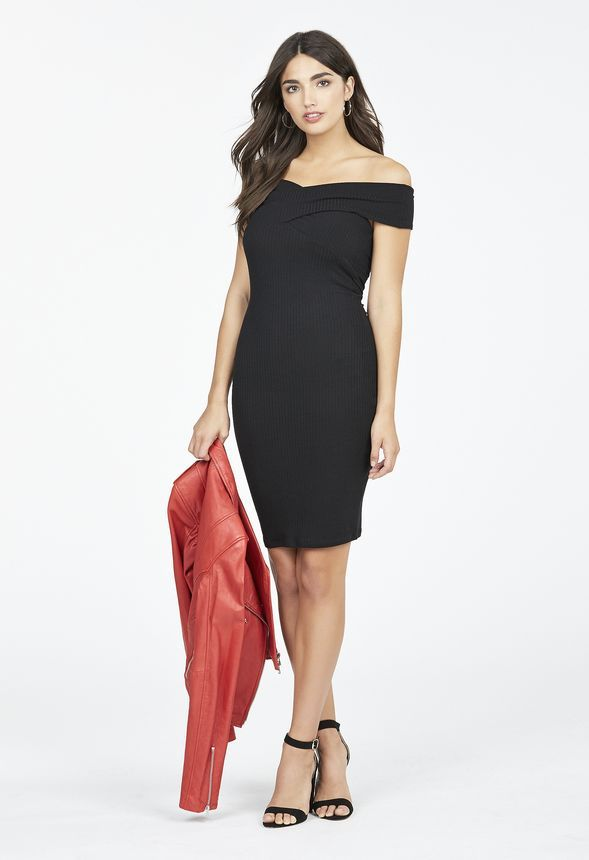 f28265e73b Ribbed Off Shoulder Dress in Black - Get great deals at JustFab ...