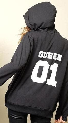 2017 Autumn Winter Couple Clothes Hoodies King Queen Princess Prince Print Sweatshirts Lover Pullover For Man And Women Child Pulli Geschenke