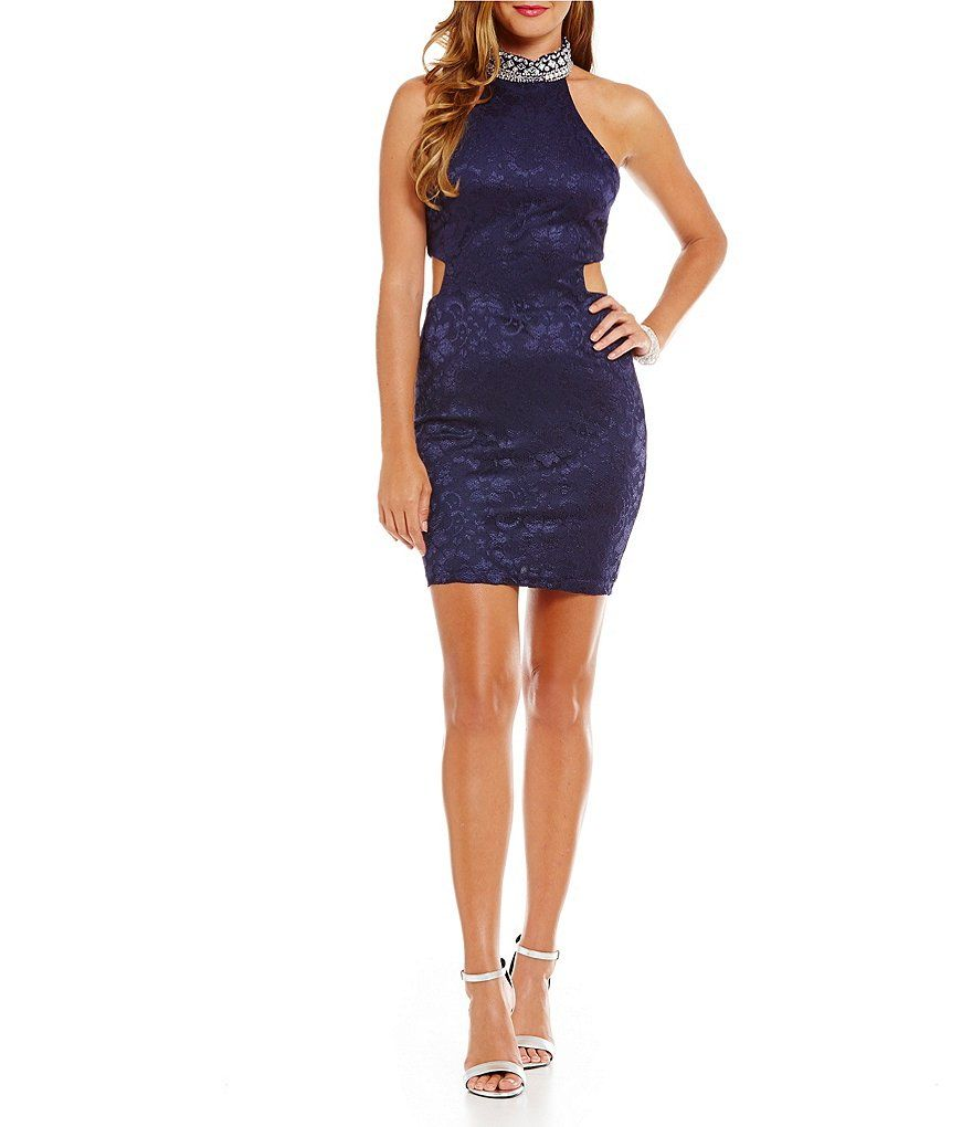 B darlin jeweled mock neck cutout lace dress homecoming
