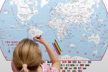 World doodle map poster products world doodle map poster this doodle world map with crayons is the perfect way to introduce young children to the world in a fun and creative way gumiabroncs Choice Image