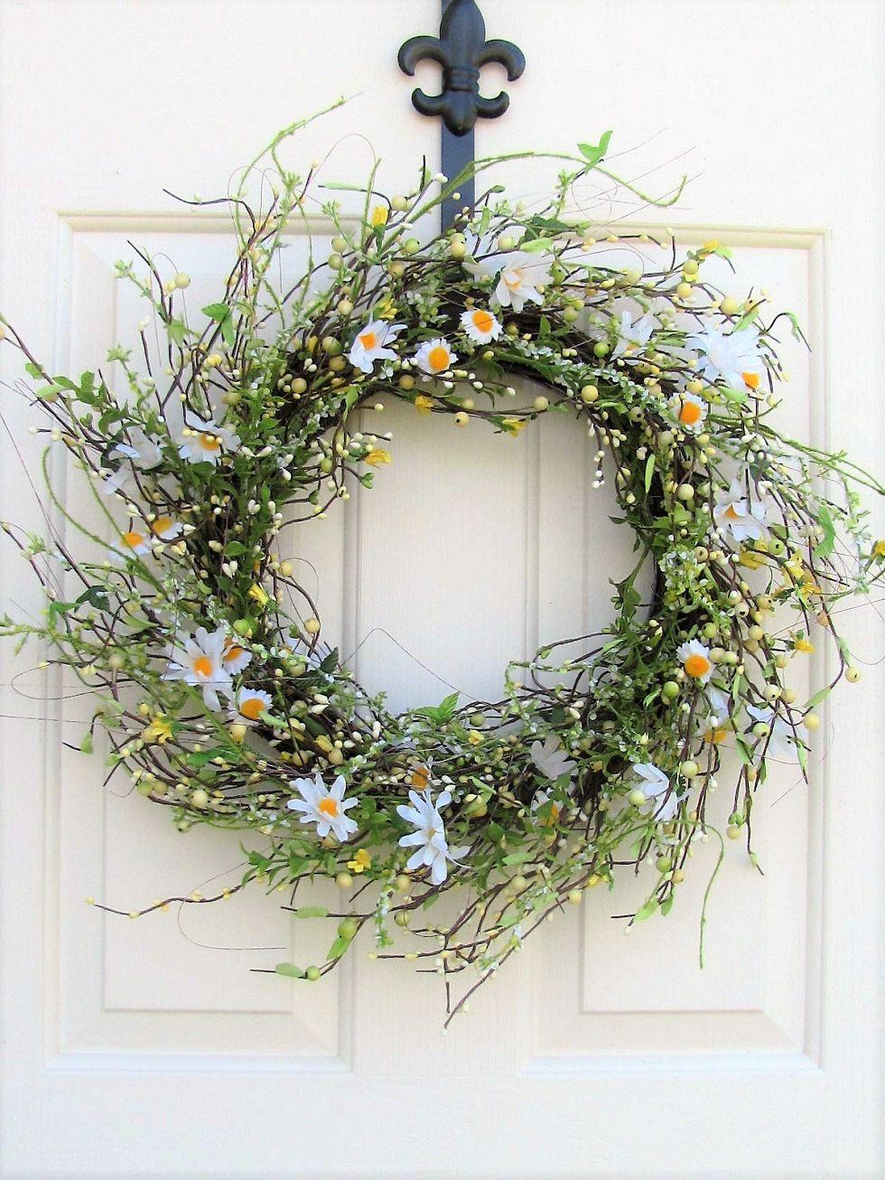 Daisy Floral Wreath Summer Wreath Storm Door Wreath Front Door