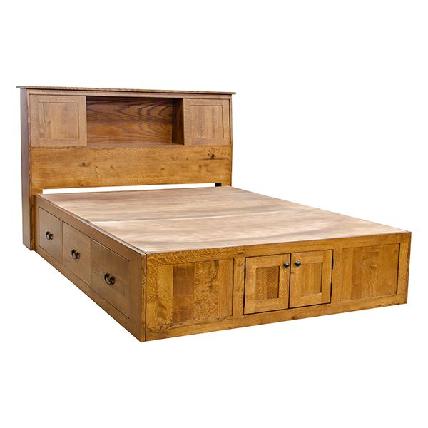 Mission Chest Bed W Bookcase Headboard With Images Wooden Bed