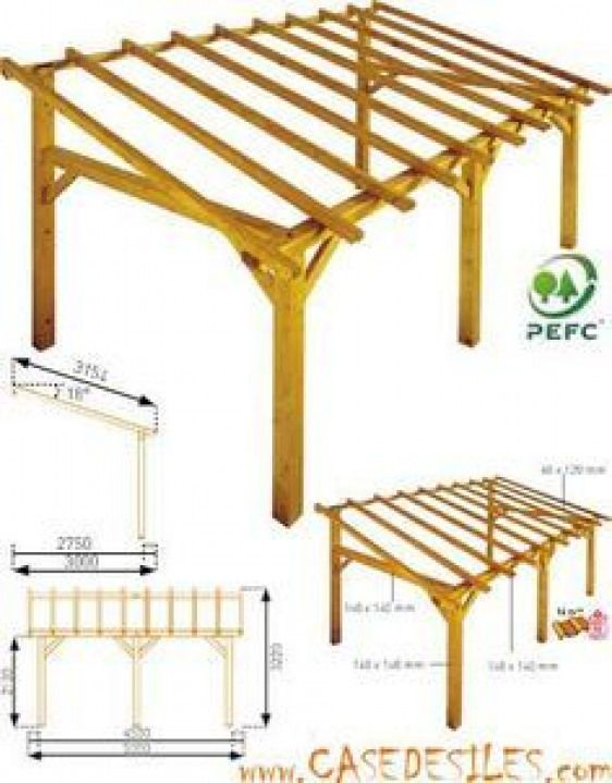 Structure De Carport En Bois 15mc Sherwood Achat Pas Cher Shedplans Pergola Outdoor Pergola Cheap Outdoor Storage