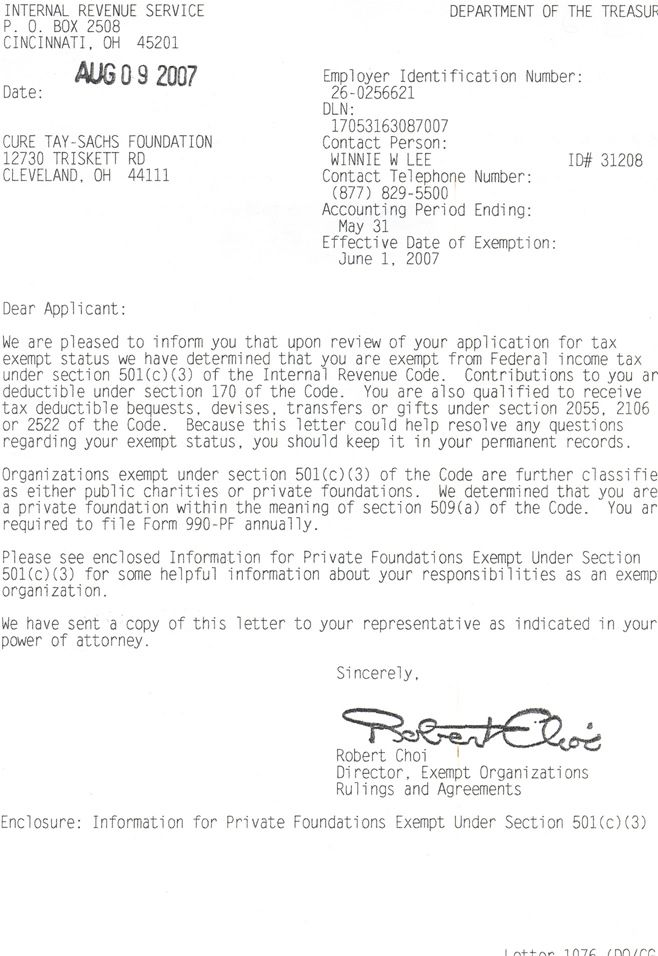Times And Raised Total Irs Determination Letter Charitable