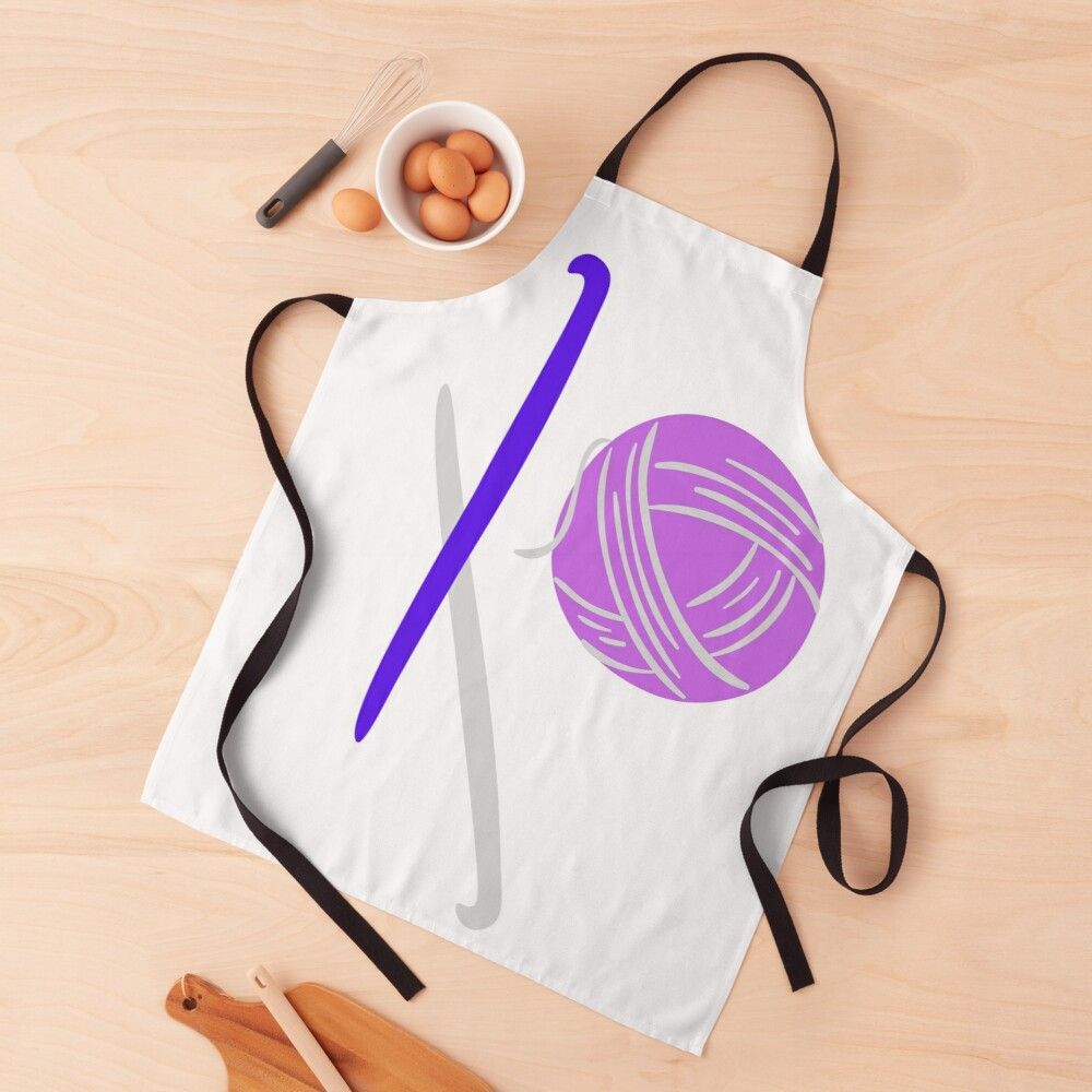 'Crochet Hooks and Yarn in Purple and Blue' Apron by