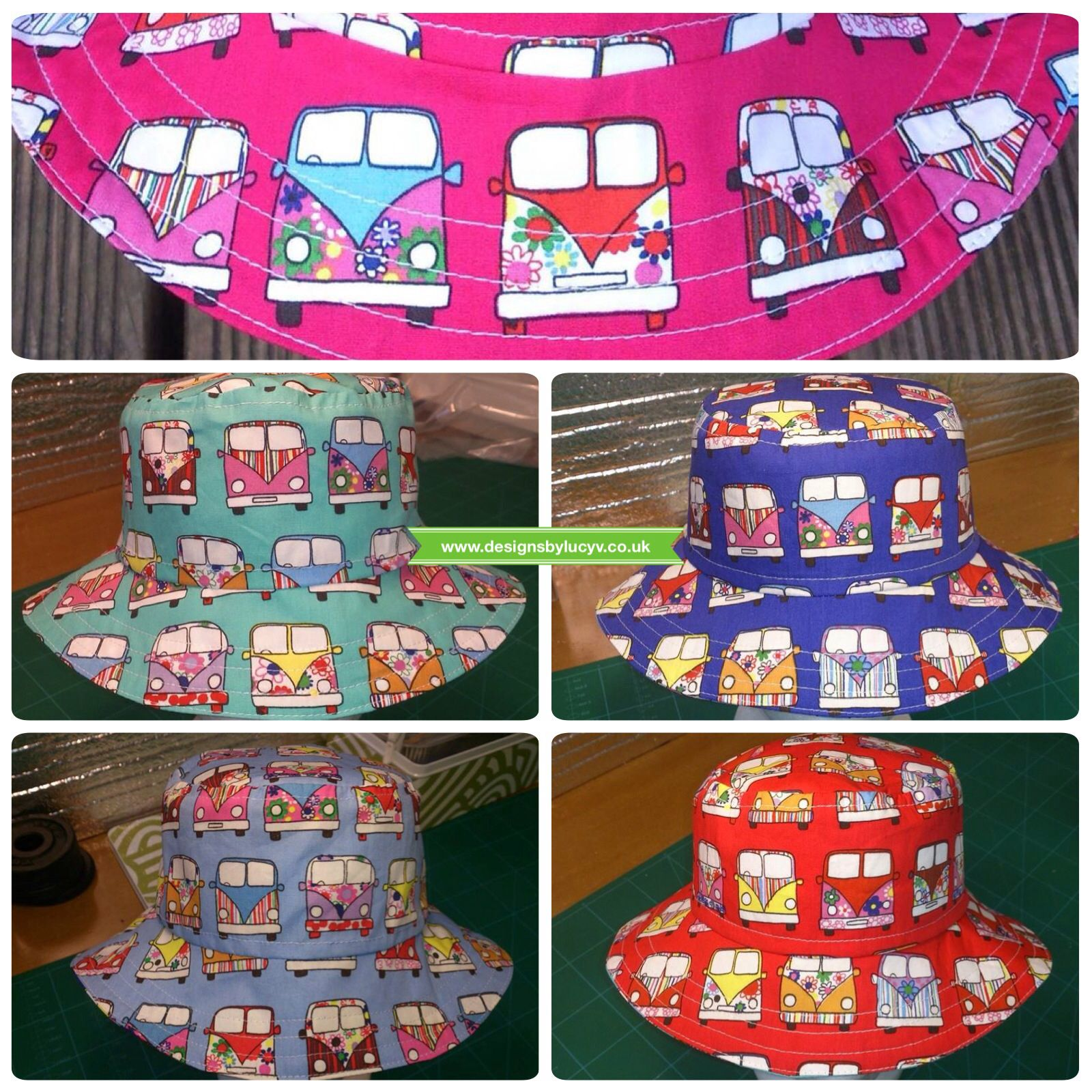da743522d29 Reversible vw campervan bucket hats from www.designsbylucyv.co.uk on Etsy -  which colour is your favourite