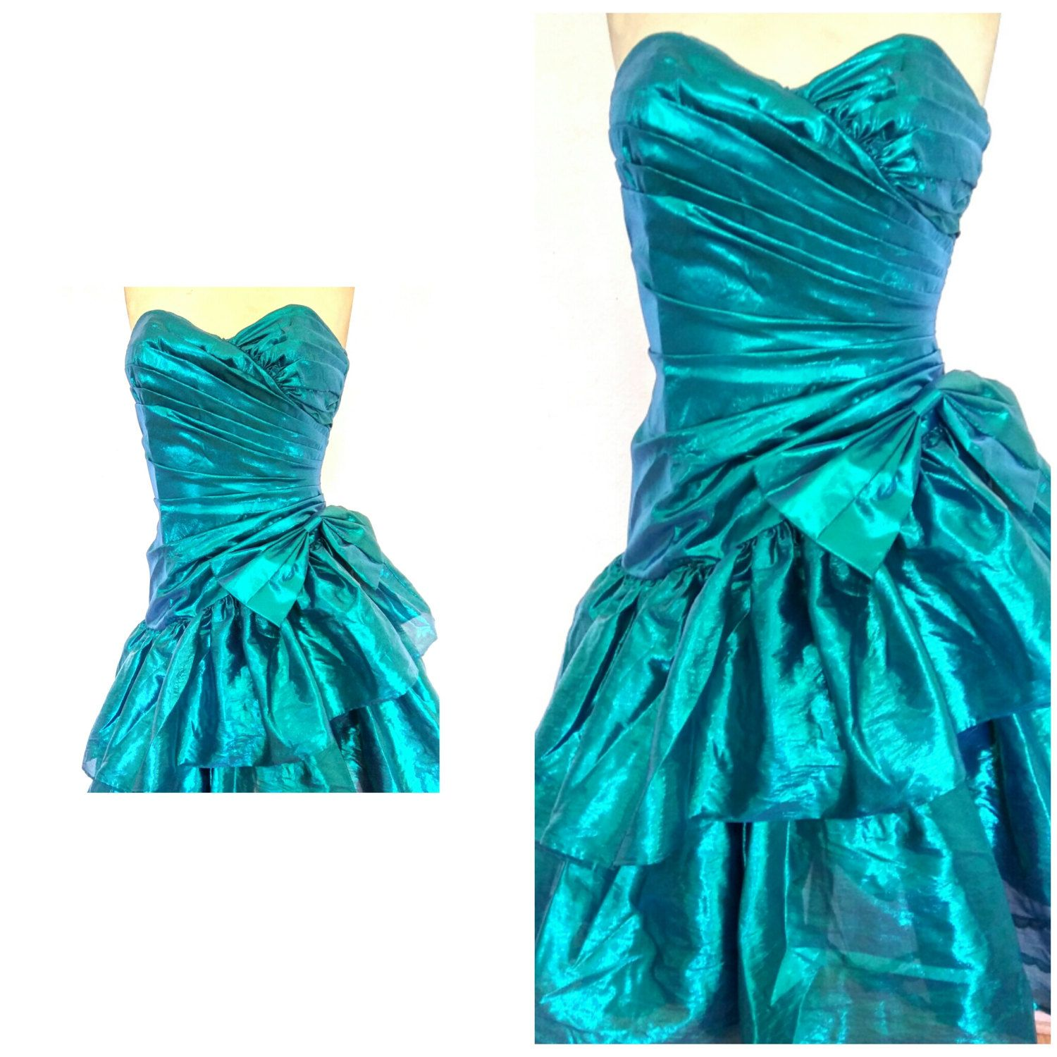 80\'s vintage PROM DRESS 80\'s prom dress metallic green TEAL ...