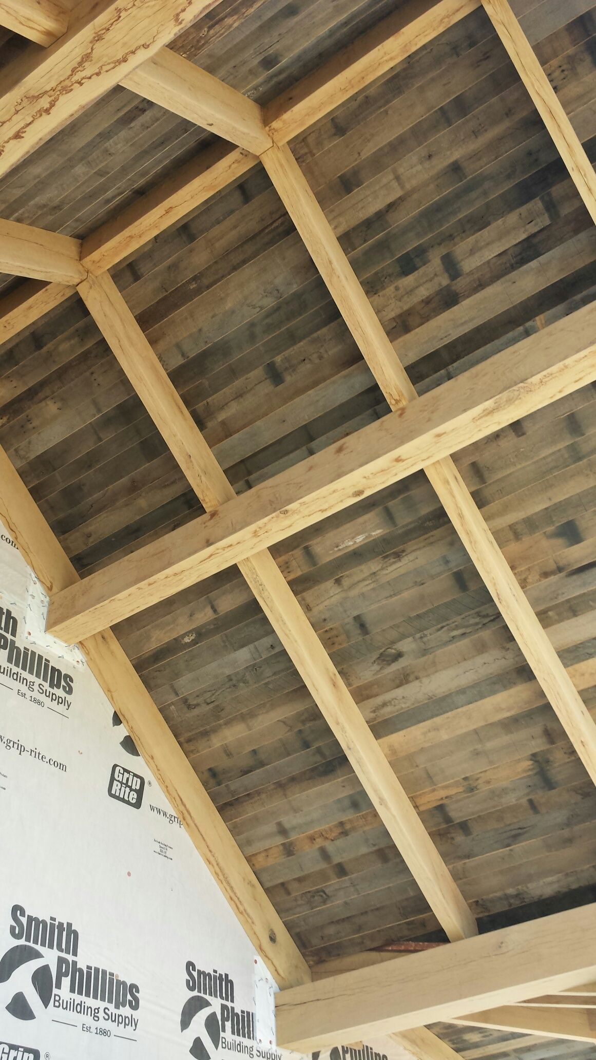 Tongue And Groove Reclaimed Barnwood For Outdoor Patio Ceiling. Image By  Reclaimed Lumber And Beams