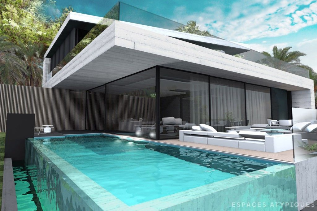 Villa cosy avec piscine d bordement tout le monde en a - Maison moderne de luxe a vendre ...