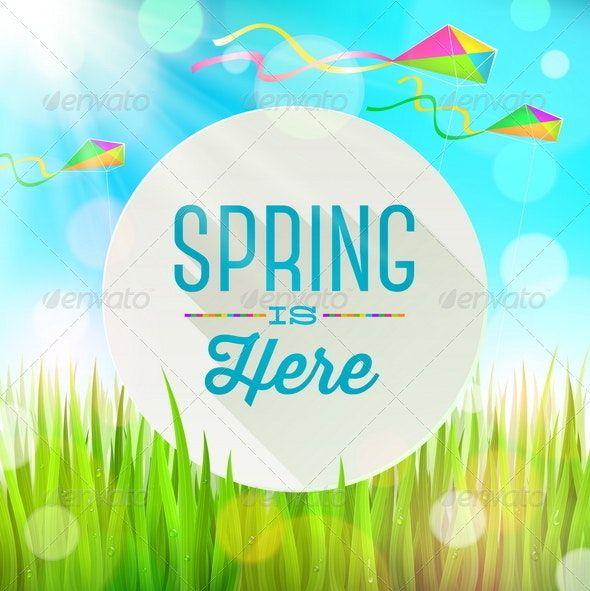 Spring Greeting Banner on a Sunny Landscape